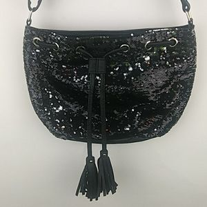 Sequin Vegan leather Purse Bag w/ tassles, Black